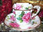 ROYAL STAFFORD FLOWER HANDLE BOLD PINK ROSES SQUARE TEA CUP & SAUCER