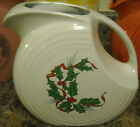 HOMER LAUGHLIN CO FIESTA HOLLY & RIBBON CHRISTMAS LARGE DISC PITCHER - RARE 1st