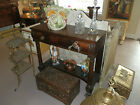 GORGEOUS ANTIQUE BOW FRONT 2 DRAWER SERVER WITH CARVED PAWED FEET