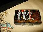 VINTAGE JAPANESE BLACK LACQUER JEWERLY/ TRINKET BOX