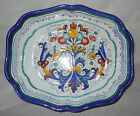 Shapely Blue Ricco Deruta Pottery Serving Dish - Italy