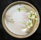 Hand Painted Nippon Footed Flat Side Dish White Flower Gold Trim Maple Leaf 6