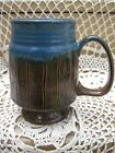 Pacific Stoneware 1968 Coffee Mug Blue Tea Cup Relief Brown Log Wood Pattern USA