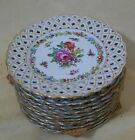 12 ANTIQUE GERMANY DRESDEN?  HAND PAINTED RETICULATED PORCELAIN PLATES FLOWER