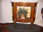 Vintage French Marble Top Hand Painted Gilt Console Hall Table Artistist signed