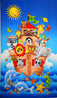 Noah's Ark Animals Panel cotton quilt fabric 1yd Dolphin Seahorse Turtle Fish
