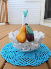 SALUTE ITALIA WHITE CERAMIC PORCELAIN WOVEN FRUIT BASKET HANDLED BOWL