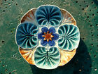 ANTIQUE FRENCH BELGIUM MAJOLICA OYSTER PLATE WASMUEL WATER LILIES  1890