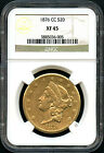 1876-CC Gold Double Eagle Type 2 $20 Liberty NGC XF-45 Very Rare!