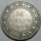 Newfoundland 50 Cents 1898, Very Good, Rim Nick, .3504 Ounce Silver, #1