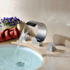 Modern Luxury Bathroom Basin Faucet Dual Handles Vanity Sink Mixer Tap Waterfall