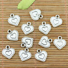 26pcs tibetan silver color 2sided love heart charms EF2368