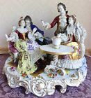 Large Superb Porcelain Dresden Lace Figurine Figural Group Drinking Champagne