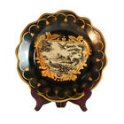 French Vintage Antique Style Porcelain Black & Gold Plate w bird scenery 27.5cm