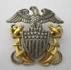 WWII US Navy Eagle Shield Insignia Sterling Silver 10K Gold Fill Hat Lapel Pin