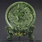 Chinese 100% Natural Jade Handwork Carved Dragon Phoenix Statue 560687