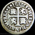 EARLY COLONIAL AMERICA! 1737 SPANISH SILVER CROSS 1/2 REALES! (V27)