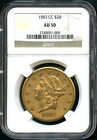 1883-CC Gold Double Eagle Type 3 $20 Liberty NGC AU-50 Very Rare!