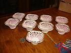 Vintage Set of 9 SPAGHETTI CHINA NUT CUP BASKETS Pink & White with Gold Trim
