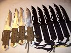 4 Silver Color & 6 Black Survival knives wholesale hunting fish IMPORTED Bug Out