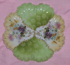 Antique Hand Decorated  Scrolled Plate Pink Yellow Purple Flowers Raised Gold
