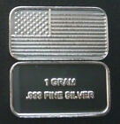 1 GRAM .999 FINE SOLID SILVER AMERICAN FLAG BULLION BAR USA