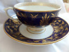 Derby? tea cup and saucer COBALT BLUE -GOLD GILT  hand painted..
