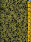 Mariko Metallic Olive Green Leaves by Blank Cotton Fabric 1yd Packed Leaves