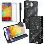Flip Wallet Leather Case Cover For Samsung Galaxy Note 3 N9000 Screen Protector