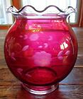 VINTAGE CRANBERRY GLASS ROSE BOWL ETCHED FLORAL WITH SCALLOPED RUFFLED TOP RIM