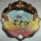 9670 Hand Painted Pottery Basket Gold Handle Portugal Country House Tree Scenery