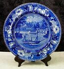 Antique Staffordshire WaterWorks Philadelphia Historical Blue Transferware Plate