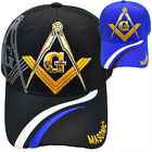 MASONIC BLACK OR ROYAL BLUE CAP HAT NEW WITH TAG ADJUSTABLE VELCRO BACK