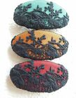 Handmade oval fabric hair barrette  - black lace over blue, orange, red cotton
