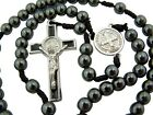 Mens Sturdy Hematite 6MM Bead Corded Hand Rosary Silver St Benedict Medal Center