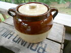 Vintage  Stoneware 2 Quart Covered Bean Pot 2-Tone Brown and Tan Glaze
