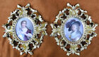 PAIR ANTIQUE ITALIAN GILD FRAMED FIRENZE HAND PAINTED PORTRAIT PORCELAIN PLAQUE