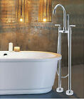 Floor Mounted Free Standing Bathtub Faucet Tub Filler Mixer Tap With Hand Shower