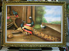 PEACOCK ROOSTER GARDEN BARN ART OIL PAINTING 24X36