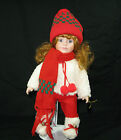 """BRINNS 1992 PORCELAIN CHRISTMAS DOLL """"HEATHER"""" --- 12"""" TALL --- HOLIDAY CLOTHES"""