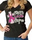 Faith Love Hope Womens V Neck Breast Cancer Awareness Pink Ribbon T Shirts