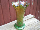 NORTHWOOD CARNIVAL GLASS GREEN TREE TRUNK  PATTERN 8 inch SWUNG VASE