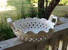 Vintage Mid Century White Porcelain Portugal Hand Made Basket Weave Bread Basket