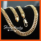 9K GOLD FILLED CURB RINGS LINKS FIGARO CHUNKY MENS WOMENS SOLID CHAINS NECKLACE