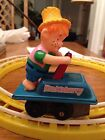 Cragstan Huckleberry Wind Up Vintage Toy With Train Track Rails WORKS!