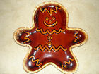 VINTAGE HULL POTTERY BROWN DRIP GLAZE GINGERBREAD MAN COOKIE PLATE