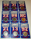 COMPLETE SET of (9) 1998 Vintage NY GIANTS TAILGATE CLUB COINS in OP #1! NR!