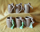 Vintage Set of Six Nude Lady Ceramic Mugs From Occupied Japan