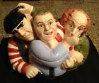Three Stooges Hand Painted Ceramic Cookie Jar Nyuk, Nyuk, Nyuk! Great Condition!