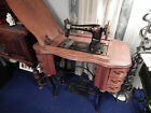 Free brand treadle Sewing Machine of Chicago w/Drawered raise leaf/top cabinet
